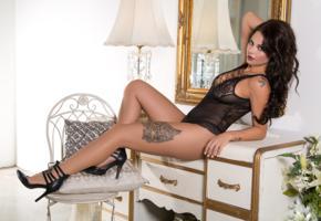 shelly lee, brunette, sexy girl, lingerie, legs, heels, tattoo, tanned, black lingerie