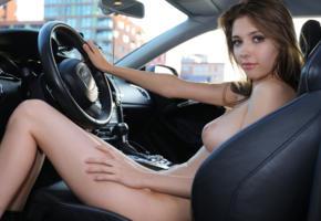 mila azul, mila, milla, auburn, car, audi rs5, naked, big tits, nipples, natural beauty, ultra hi-q