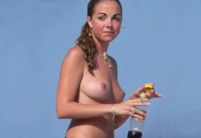 smoking, nipples, bottle, cigarette, coke, boobs, tits, wet, amateur