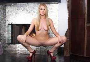 bailey rayne, blonde, sexy girl, adult model, labia, pussy, shaved pussy, fireplace