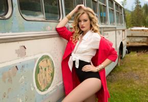 olivia preston, blonde, sexy girl, look, retro bus, non nude