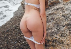 kay j, bikini, strip, ass, butt, bum, outdoors, beach, sea, shore