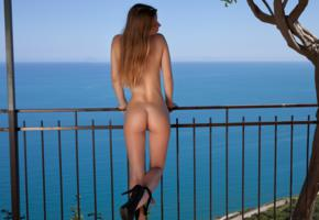 long hair, sexy, babe, outdoor, ass, photodromm, amanda, sea, nude