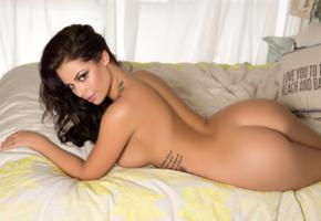shelly lee, brunette, sexy girl, nude, naked, bed, tattoo, ass, tanned