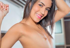 tits, small breasts, nude, smile, danni ferrer, girl, nipples, dancing, brunette, camila saint, hard nipples, small tits