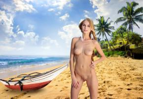 nancy a, jane f, erica, blonde, beach, naked, small tits, nipples, shaved pussy, landing strip, labia, boat, hi-q