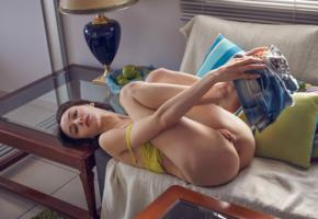 adel morel, olivia y, amber b, brunette, undressing, model, shaved, hi-q, delicious, hot ass, pussy, labia, green apples, sofa, olyvia
