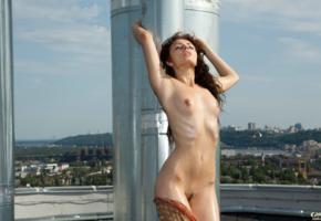 valeriya, brunette, babe, model, waxed, outdoors, sexy, nipples, small tits, wet, oiled