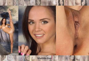 matilda, matilda bae, model, brunette, shaved, pussy, labia, flexible, smile, skinny, small tits, butthole, collage