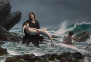 mermaid, rescue, storm, boat, beach