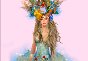 mermaid, blonde, live, crown