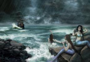 mermaid, 3 of, storm, waiting, for, ship, wreck