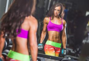 fittness, brunette, weights, gym, fitness model, mirror, oiled
