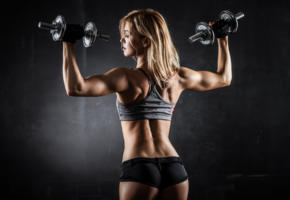 blonde, weights, gym, fitness model, sexy ass, back, dumbell