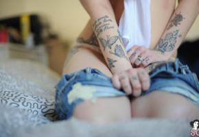 tabata, suicide girls, sliding, shorts, tattoo
