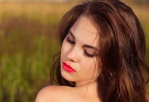 diana, famegirl, brunette, field, red lips, face