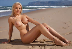 yasmin, blonde, beach, sand, sea, sun, photodromm, big boobs, legs, perfect body, hot, sexy, nude, naked, wet, hard nipples, hi-q