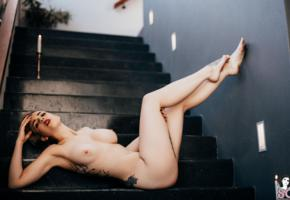 twitching allure, suicide girls, stairs, twitchling, legs, tits, boobs
