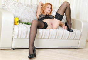 dina p, violla a, myza, sexy girl, adult model, redhead, stockings, sofa, shaved pussy