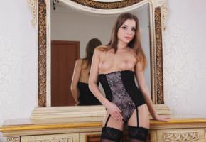 alyssa a, molly v, giulia, sexy girl, adult model, laura k, mirror, corset, boobs, tits