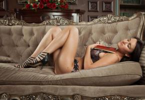 sanita, sexy girl, adult model, lingerie, masha, emily, katalina, ramira, book, flowers, couch, sofa, lounge, legs