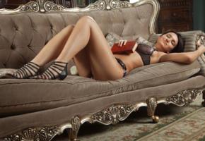 sanita, sexy girl, adult model, lingerie, masha, emily, katalina, ramira, book, couch, sofa, lounge, legs