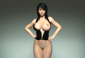 girl, art, 3d, sexy, babe, big boobs, huge tits, large breasts, pussy, nipples, body, background, virtual babe, black hair, super boobs, big breasts