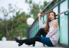 asian, sweet, cute, long hairs, look, boots, non nude