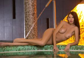 niemira, sexy girl, adult model, nude, naked, brunette, pool, tits, boobs, tanned, legs, tiffany
