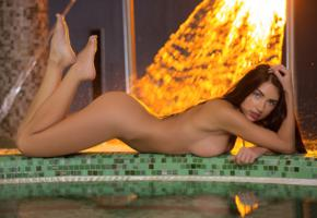 niemira, brunette, sexy girl, adult model, ass, pool, tits, nude, naked, tiffany