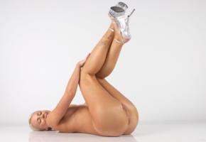 angel i, blonde, sexy girl, adult model, nude, naked, angela saint, carina, legs, heels, smile, pussy, labia, ass