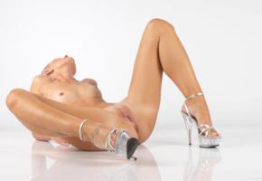 angel i, blonde, sexy girl, adult model, nude, naked, angela saint, carina, legs, heels, tattoo, pussy, labia, ass, tits, nipples, spreading