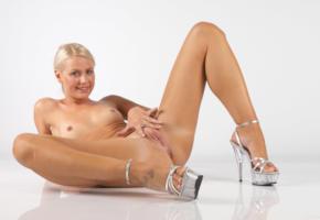 angel i, blonde, sexy girl, adult model, nude, naked, angela saint, carina, legs, spreading, heels, tattoo, pussy, labia, ass, tits, nipples, smile