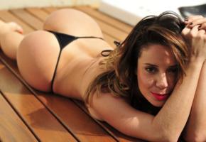 grazy alcantara, ass, sexy, hot, thong, brunette, red lips, ass wallpaper