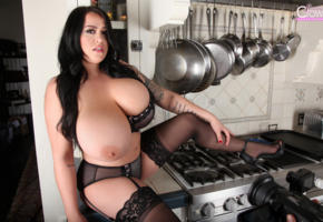 leanne crow, boobs, sexy, big tits, gazongas, kitchen, black stockings, lingerie, high heels