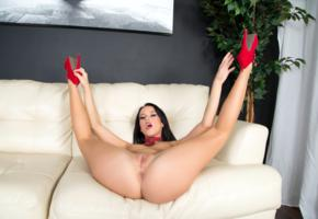 megan rain, megan rains, meagan, brunette, sofa, naked, small tits, nipples, shaved pussy, labia, ass, spread legs, high heels, hi-q