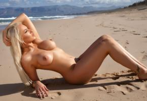 yasmin, blonde, beach, naked, big tits, nipples, tattoos, hi-q, tanned, boobs, sea
