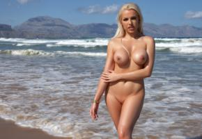 yasmin, blonde, beach, naked, big tits, nipples, shaved pussy, hi-q, tanned, wet, boobs, sea