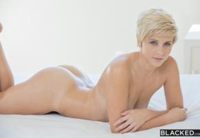 makenna blue, blond, short hair, lying, ass, nude, sexy body, blacked, oiled