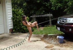 freya von doom, freya, brunette, petite, naked, honda ridgeline, waterhose, small tits, tiny tits, shaved pussy, tattoo, hi-q, shes washing my car, funny, tiny girl