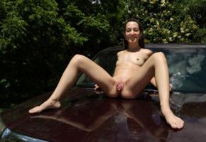 freya von doom, freya, brunette, petite, naked, honda ridgeline, small tits, tiny tits, hard nipples, shaved pussy, labia, ass, spread legs, smile, hi-q