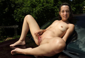 freya von doom, freya, brunette, petite, naked, honda ridgeline, small tits, tiny tits, hard nipples, shaved pussy, stretched labia, ass, spread legs, smile, hi-q, pink inside, meat curtains