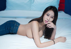 asian, chinese, boobs, brunette, girl, long hair, sexy legs, ass, wen wen, tuigirl, bed, delicious, hi-q, jeans