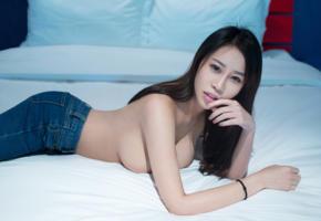 asian, chinese, boobs, brunette, girl, long hair, sexy legs, ass, wen wen, tuigirl, bed, delicious, hi-q, jeans, denim jeans