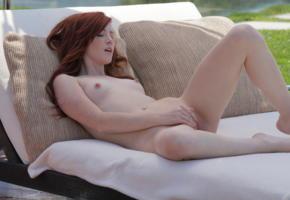 elle alexandra, elle alexandria, elle e, x-art, legs, spread, pussy, tits, nipples, small tits, masturbate, redhead, shaved, outdoor, teasing, cute