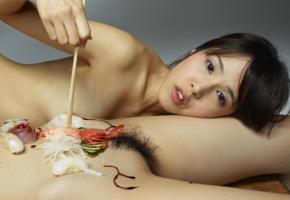 konata, lulu, japanese, asian, sushi, food, eating, haired pussy, boobs, tits, dark nipples
