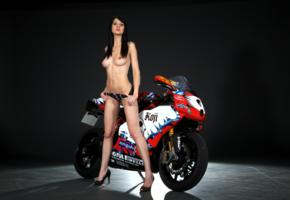 brunette, tits, sport bike, model, heels, bikini bottom, nipples, babe, light, ducati