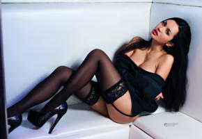 valeriya ogel, black stockings, high heels, stockings, brunette, black hair