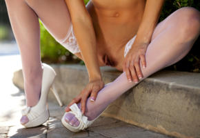 malena morgan, white stockings, sexy thighs, pussy, vagina, shaved pussy, outdoor, close up