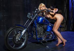 nika n, blonde, sexy girl, adult model, bike, beauty, hi-q, nude, legs